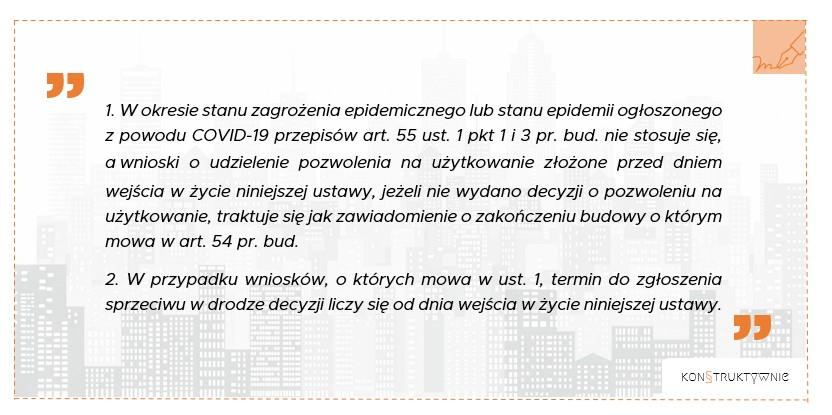 Prawo Budowlane - pozwolenie na użytkowanie koronawirus